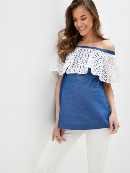 Блузка с открытыми плечами синяя весенний Mammysize