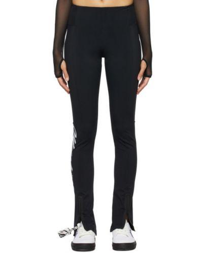 Nylon czarny legginsy z kieszeniami z mankietami Off-white