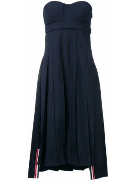 Платье миди в полоску с поясом Thom Browne