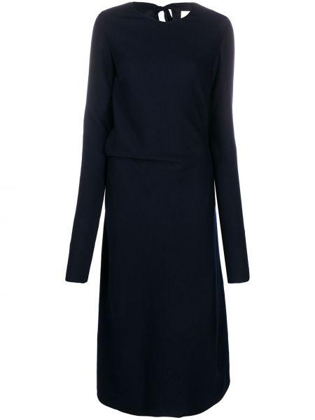 Шерстяное платье макси - синее Jil Sander