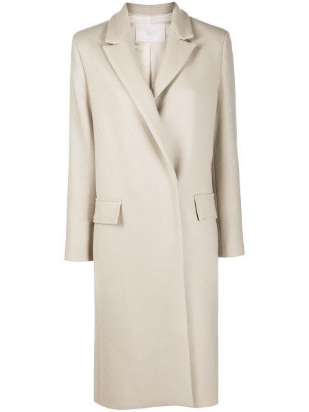 С рукавами однобортное шерстяное пальто Tela