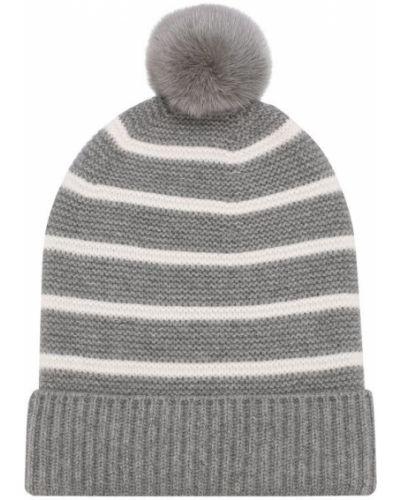 Вязаная шапка с помпоном с ушками с мехом Loro Piana