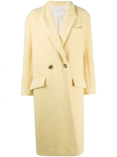 С рукавами желтое шерстяное длинное пальто с карманами Tela