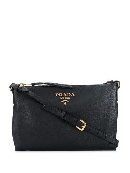 Кожаная черная сумка через плечо на молнии с карманами Prada