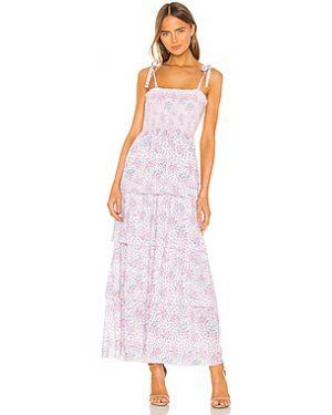 Хлопковое фиолетовое платье миди с завязками Loveshackfancy