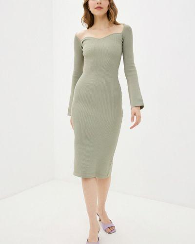 Трикотажное зеленое вязаное платье Imocean