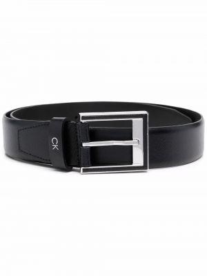 Черный кожаный ремень с перфорацией Calvin Klein