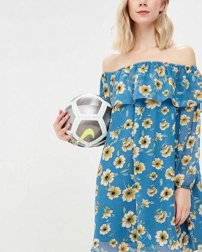 Голубое платье с открытыми плечами Glamorous