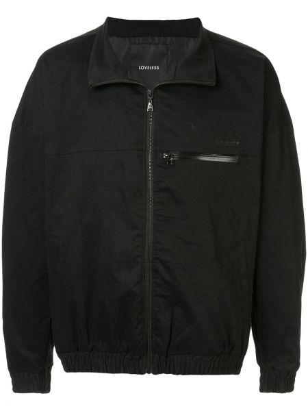 Czarna długa kurtka bawełniana z długimi rękawami Loveless