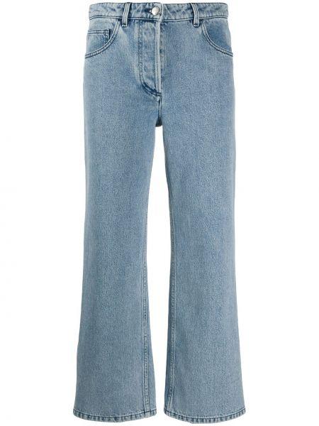 Синие укороченные джинсы с высокой посадкой с разрезами по бокам Nina Ricci