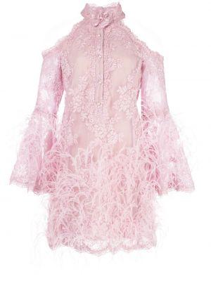 С рукавами платье мини с открытыми плечами с перьями Marchesa