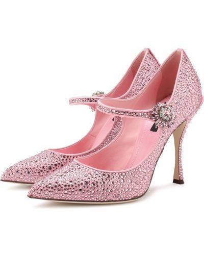 Кожаные туфли с ремешком шелковые Dolce & Gabbana