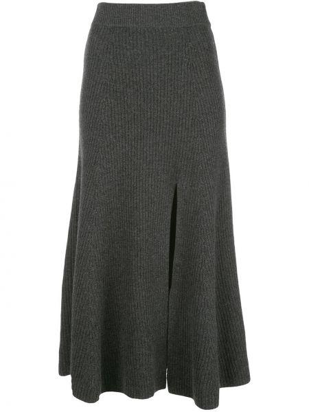 Прямая юбка с разрезом в рубчик с поясом Altuzarra