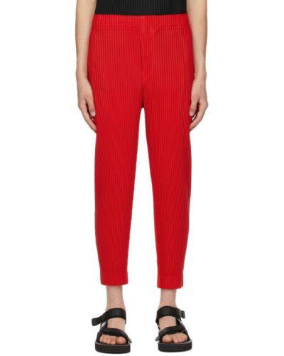 Красные прямые брюки с карманами Homme Plissé Issey Miyake