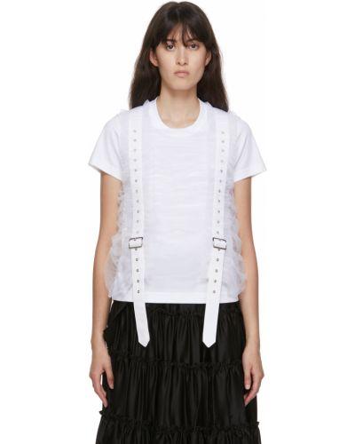 Biały t-shirt krótki rękaw srebrny Noir Kei Ninomiya