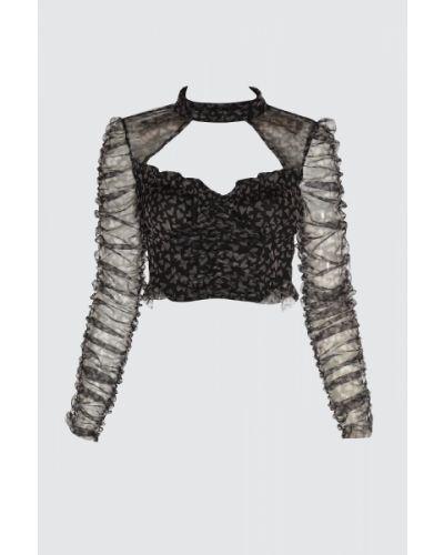 Bluzka tiulowa - szara Trendyol