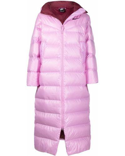С рукавами розовая длинная куртка с капюшоном Nike