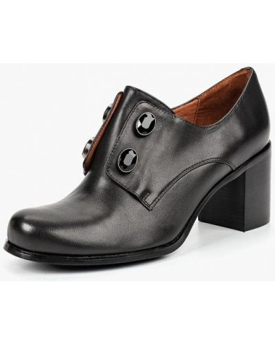 Туфли на каблуке черные кожаные Julia Grossi