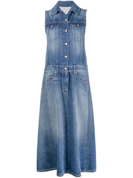 Хлопковое синее платье макси с воротником Mm6 Maison Margiela