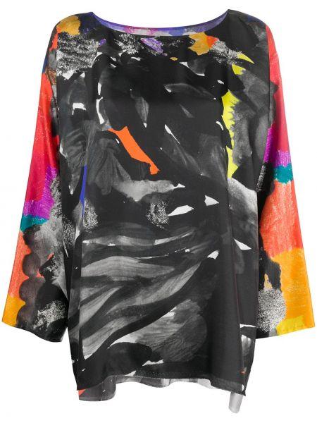 Шелковая черная прямая блузка с вырезом Daniela Gregis