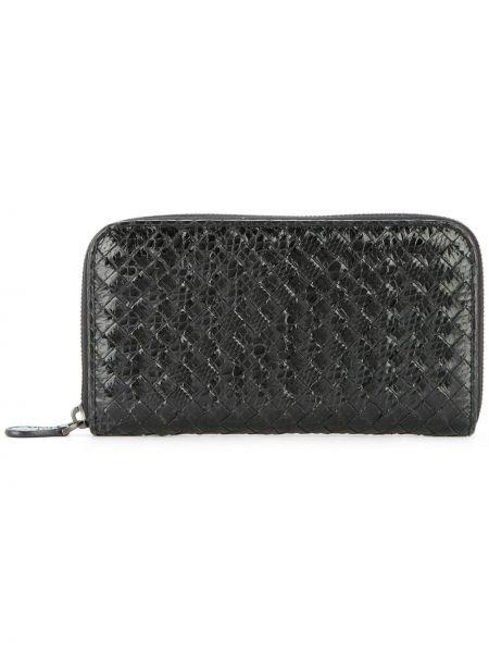 Черный кожаный кошелек круглый винтажный из крокодила Bottega Veneta Pre-owned