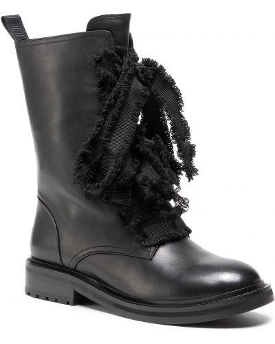 Skórzany czarny buty Eva Longoria