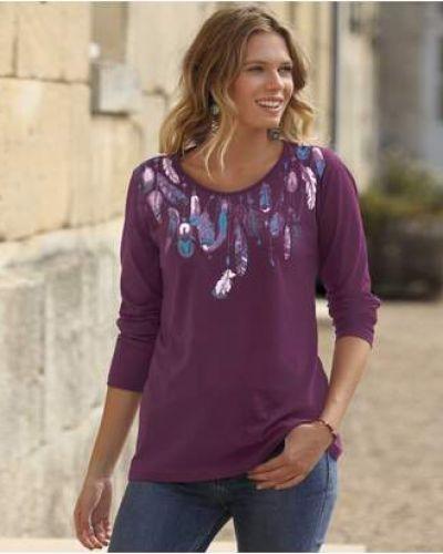 Фиолетовая прямая блузка с длинным рукавом с вырезом с длинными рукавами Atlas For Men
