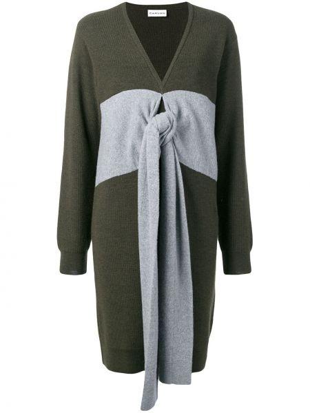 Zielona sukienka długa z długimi rękawami wełniana Carven