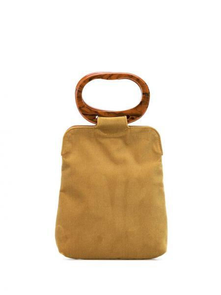 Бархатная коричневая сумка с ручками круглая с карманами Edie Parker
