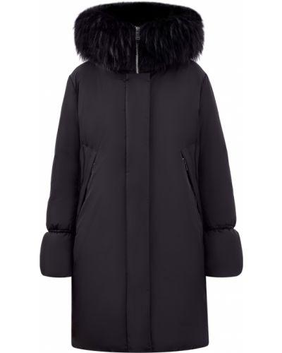 Черный пуховик длинный с карманами с перьями Add