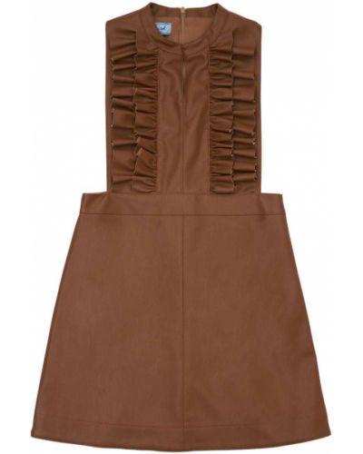 Коричневое платье с рюшами Mi.mi.sol.
