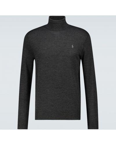 Темно-серая шерстяная классическая водолазка с вышивкой Polo Ralph Lauren