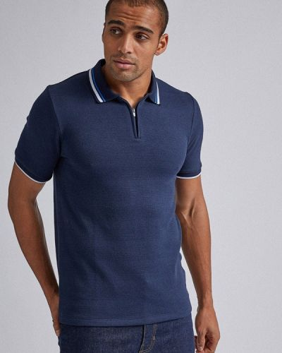 С рукавами синее поло Burton Menswear London
