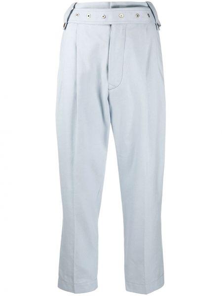 Хлопковые синие брючные укороченные брюки с поясом Mrz