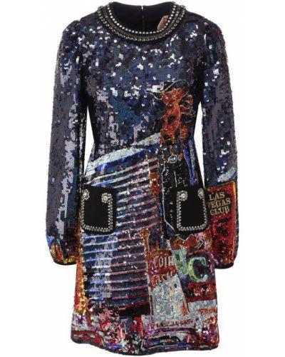 Платье с пайетками шелковое No. 21