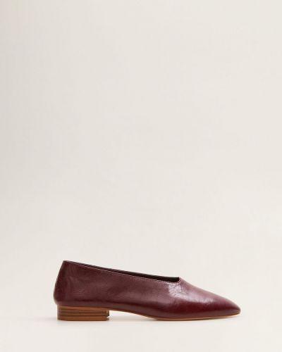 Балетки на каблуке кожаные Mango