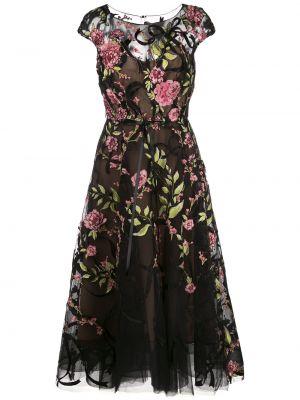 Пышное черное платье миди с вышивкой Marchesa