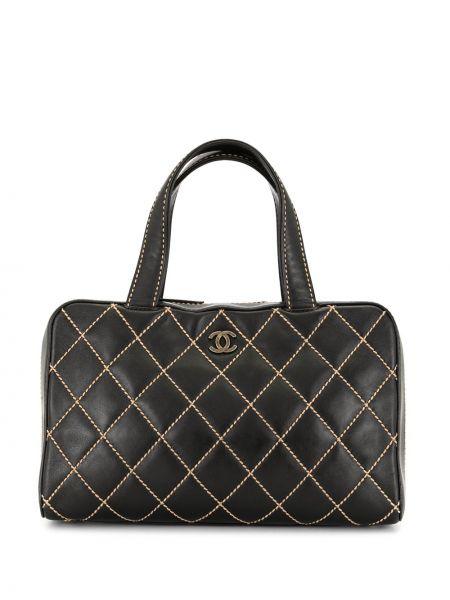 Кожаная черная стеганая сумка с ручками на молнии Chanel Pre-owned