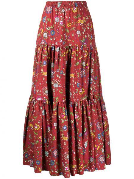 Красная с завышенной талией юбка макси каскадная с поясом La Doublej