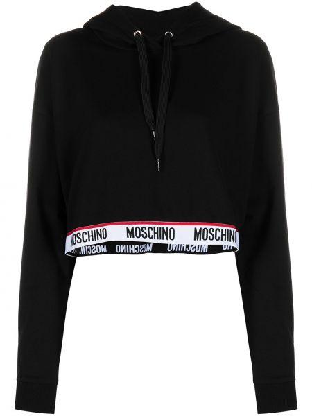 Черное худи с капюшоном с длинными рукавами Moschino