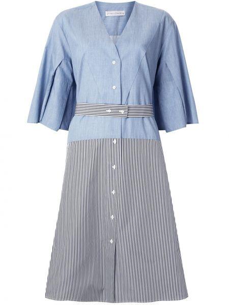 Хлопковое синее асимметричное платье миди на пуговицах Palmer / Harding