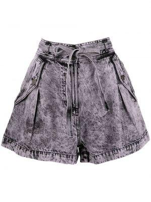 Джинсовые шорты с завышенной талией - фиолетовые Ulla Johnson