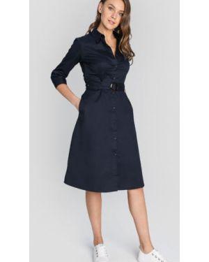 Темно-синее классическое платье с карманами с пряжкой Ostin