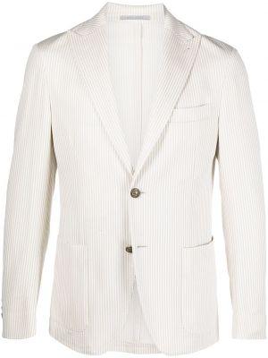 Однобортный белый удлиненный пиджак с заплатками Eleventy