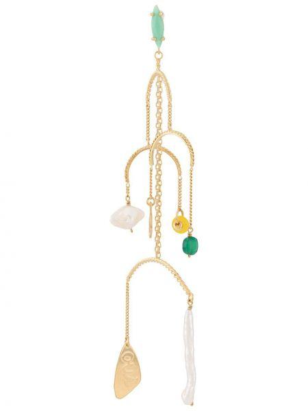 Золотистые желтые серьги-гвоздики с бисером Wouters & Hendrix