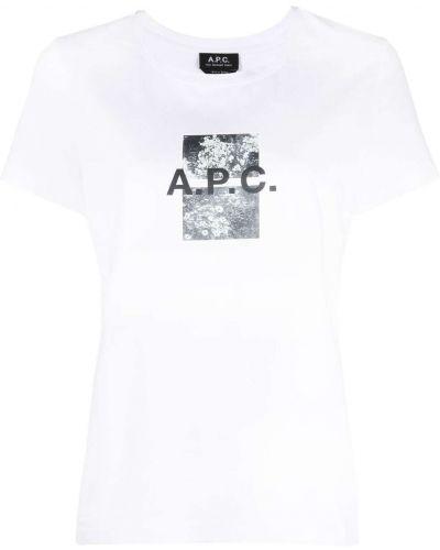 Хлопковая белая футболка с вырезом A.p.c.
