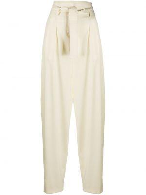 Białe spodnie z wysokim stanem bawełniane Wandering