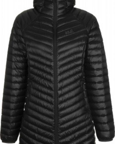 Приталенная теплая черная куртка на молнии Jack Wolfskin