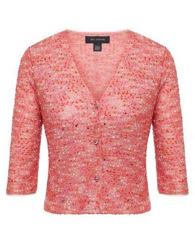 Розовый пиджак со стразами с подкладкой из вискозы St. John