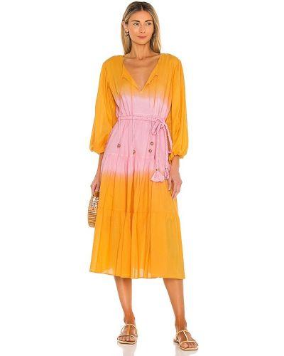 Хлопковое розовое платье макси с поясом Karina Grimaldi